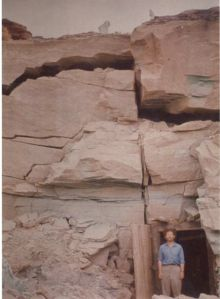1955, August Theodore in front of main Four Aces mine tunnel in the Shinarump formation