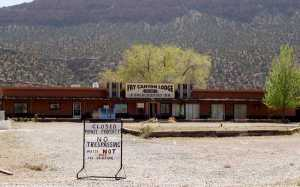 A recent picture of Fry Canyon Lodge built in 1955 and (as its web page notes) far (30 miles?) from any other building.